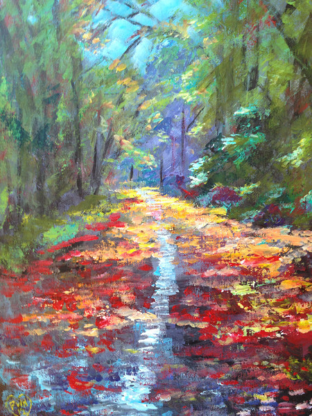 Impressionist representation of the Forest Park path photo.   Painting by Peter W Hart, 2012-12-30