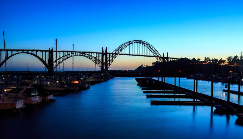 Last Glow of Sunset Behind Newport Bridge