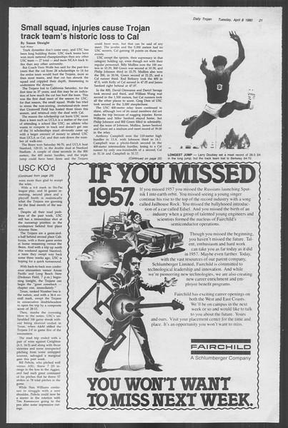 Daily Trojan, Vol. 88, No. 39, April 08, 1980