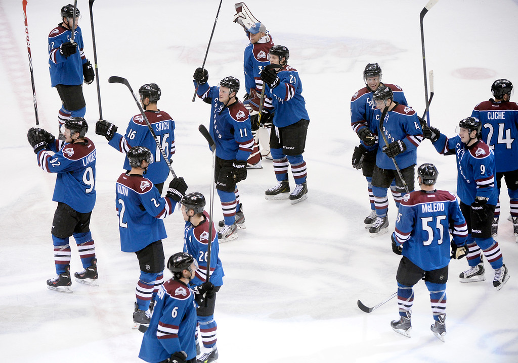 . The Colorado Avalanche defeated the Vancouver Canucks 3-2 in overtime Thursday night, March 27, 2014 at the Pepsi Center in Denver, Colorado. Defenseman Tyson Barrie had the winning goal with an assist from Matt Duchene. (Photo by Karl Gehring/The Denver Post)