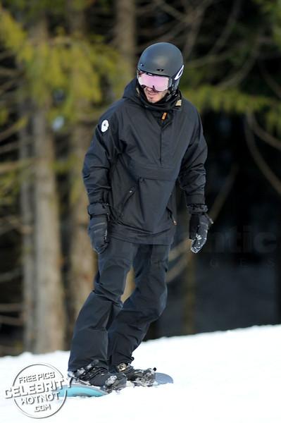 David Beckham Wears Oakley Goggles Snowboarding in Whistler, Canada