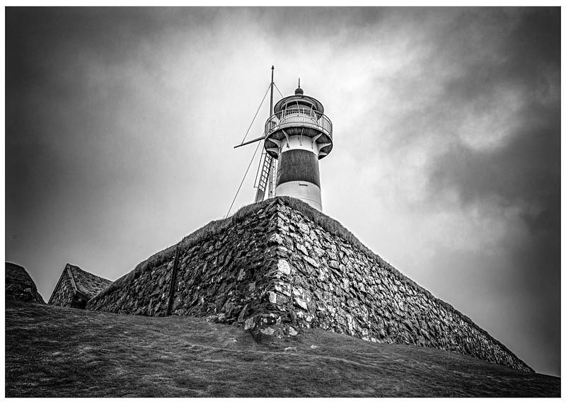 Faroe Lighthouse    Black and White Photography by Wayne Heim