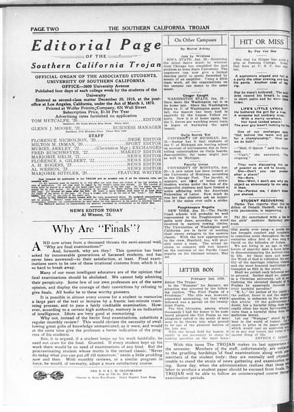 The Southern California Trojan, Vol. 11, No. 53, February 03, 1920
