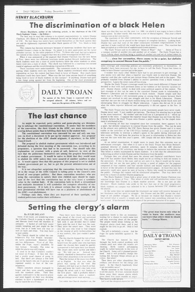 Daily Trojan, Vol. 64, No. 48, December 03, 1971