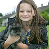 Sarah-Anne Williamson with her rabbit Fluffy at the pet show during the Markethill festival. 06W32N17