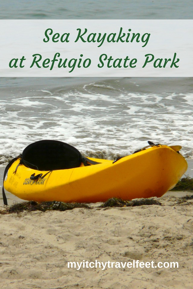Sea Kayaking at Refugio State Park on a spring road trip on the California coast.