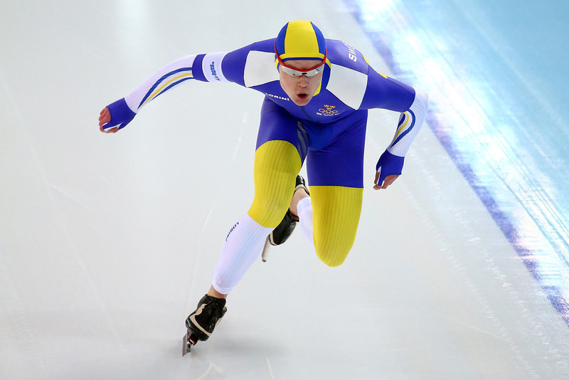 . David Andersson of Sweden competes during the Men\'s 1000m Speed Skating event during day 5 of the Sochi 2014 Winter Olympics at at Adler Arena Skating Center on February 12, 2014 in Sochi, Russia.  (Photo by Streeter Lecka/Getty Images)
