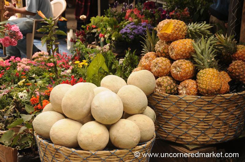 Melons and Pineapples at Market - Antigua, Guatemala
