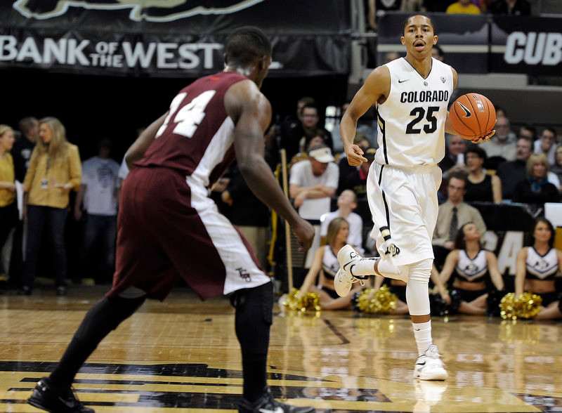. University of Colorado\'s Spencer Dinwiddie moves the ball towards Raymond Penn during a game against Texas Southern on Tuesday, Nov. 27, at the Coors Event Center on the CU campus in Boulder.  Jeremy Papasso/ Camera