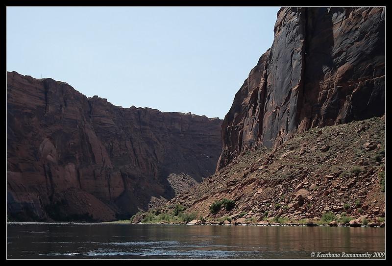 Navajo sandstone cliffs at Glen Canyon along Colorado River boat ride, Arizona, September 2009