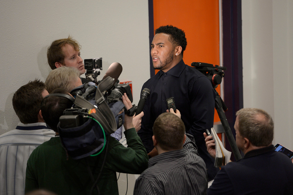 . Denver Broncos T.J. Ward one on one with the press after a press conference March 12, 2014 at Dove Valley. The Broncos have agreed to terms with former Cleveland Browns strong safety T.J. Ward, who is coming off a Pro Bowl season. Ward will sign a four-year contract for $23 million � with $14 million guaranteed. (Photo by John Leyba/The Denver Post)