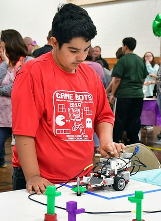 4/18/2019 Mike Orazzi | Staff Gabriel Colon, a member of the Northeast Middle School &quote;TSA&quote; Technology Students Alliance during the Bristol Middle School Robotics Challenge Thursday.