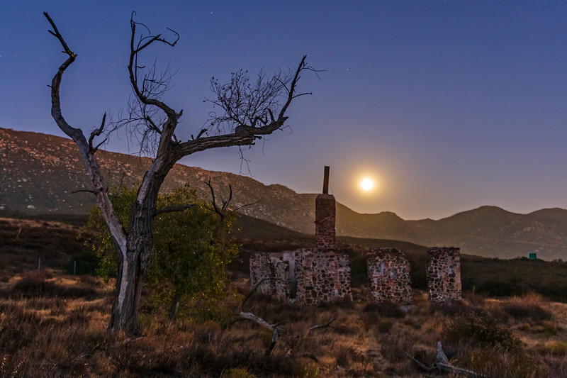 Ruins of the Buckman homestead along Old Highway 80 under a full moon