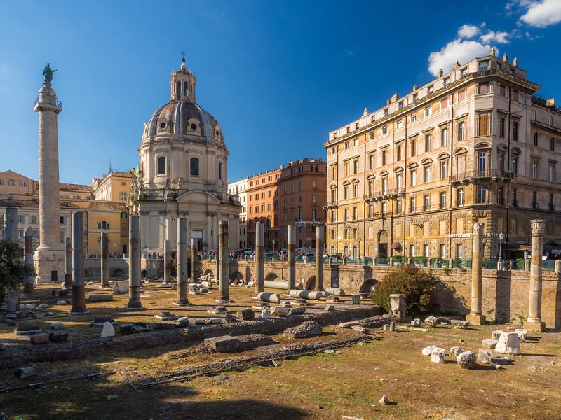 Trajan's Column and Ancient Pillars, Rome, Italy