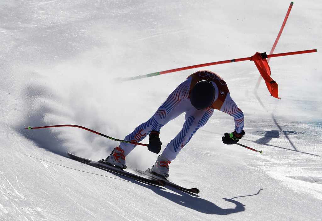 . United States\' Ryan Cochran-Siegle loses control just before crashing during the downhill portion of the men\'s combined at the 2018 Winter Olympics in Jeongseon, South Korea, Tuesday, Feb. 13, 2018. (AP Photo/Luca Bruno)