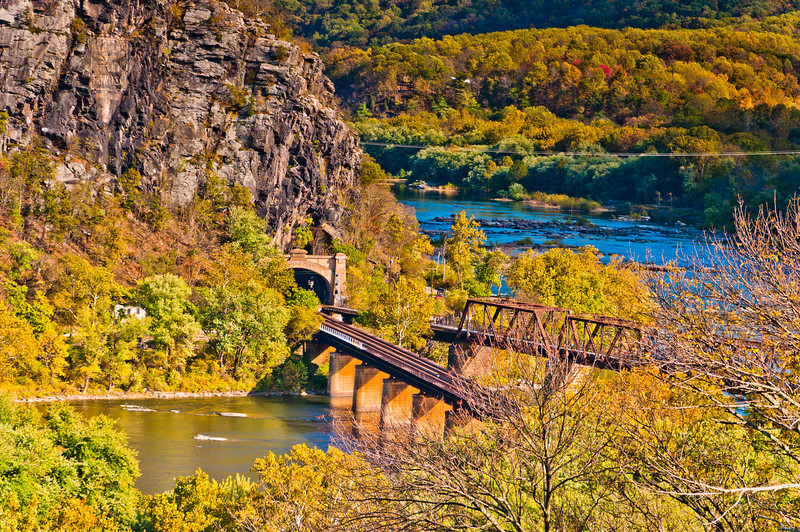 View of Train Bridges and Tunnel, Harpers Ferry, WVA