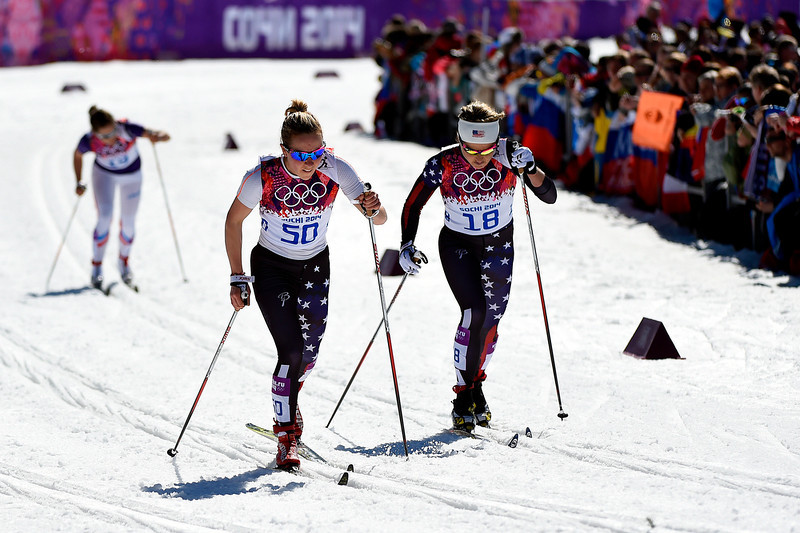 . Ida Sargent of the United States (L) and Holly Brooks of the United States compete in the Women\'s 10 km Classic during day six of the Sochi 2014 Winter Olympics at Laura Cross-country Ski & Biathlon Center on February 13, 2014 in Sochi, Russia.  (Photo by Lars Baron/Getty Images)