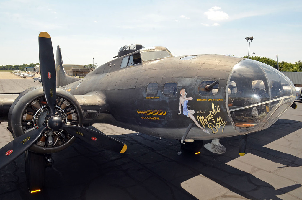 """. The \""""Memphis Belle\"""" parked on the tarmac at Northeast Philadelphia Airport.   Monday,  August 18, 2014.   Photo by Geoff Patton"""