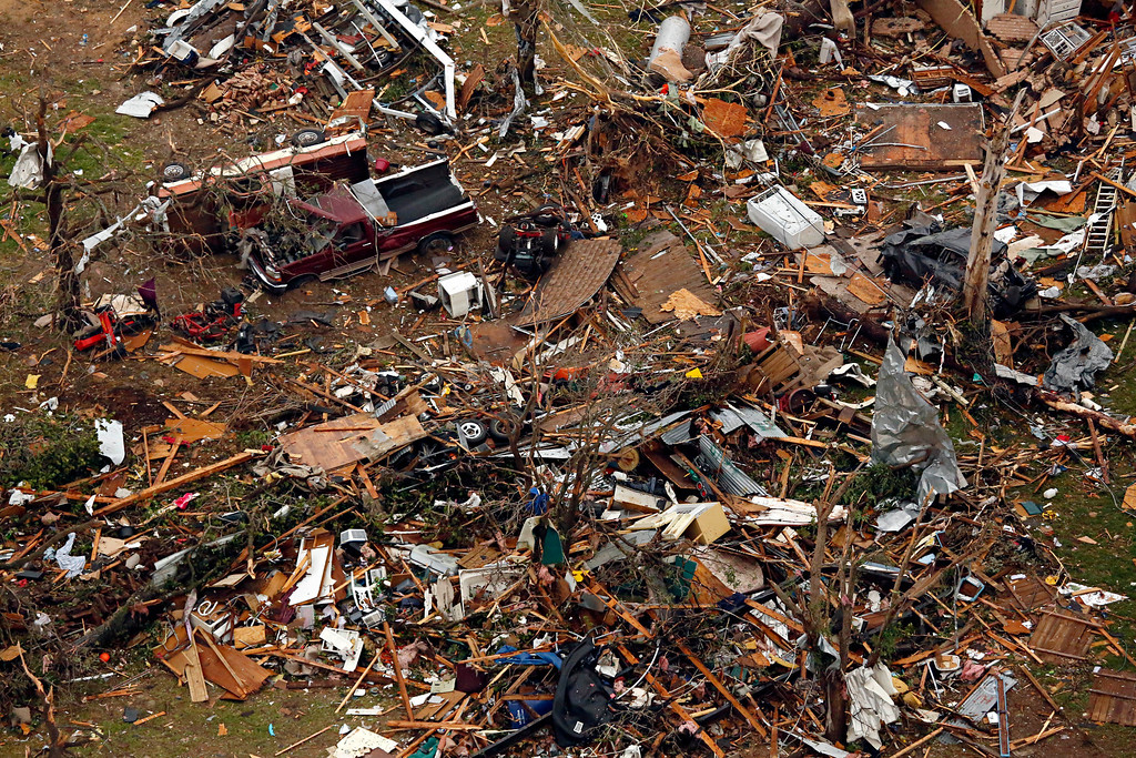 . This aerial photo shows a leveled neighborhood  on Thursday, May 16, 2013 in Granbury, Texas. (AP Photo/The Dallas Morning News, G.J.McCarthy)