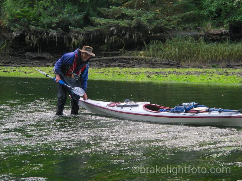 Moving Kayaks across a Shallow Bar on the San Juan River
