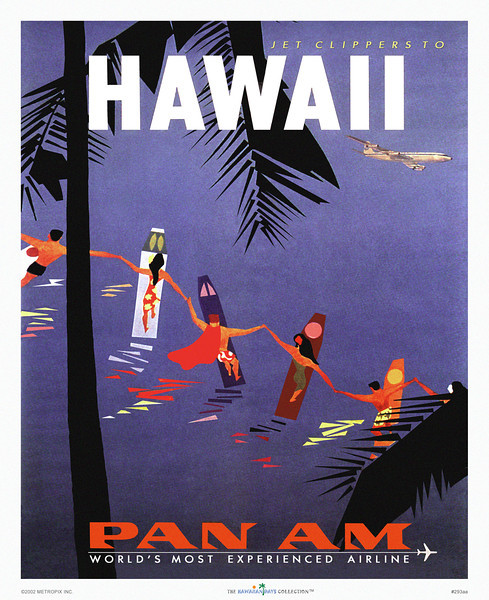 293: 'Jet Clipper to Hawaii' Pan Am Airline Poster. Ca. 1949.