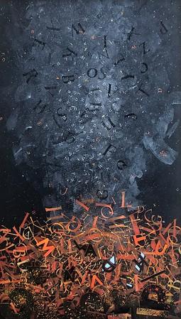 """Memories Burning"" (acrylic, gouache, 23k gold leaf, paper) by Sherri Trial"