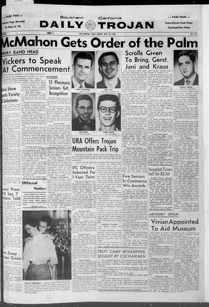Daily Trojan, Vol. 47, No. 137, May 18, 1956