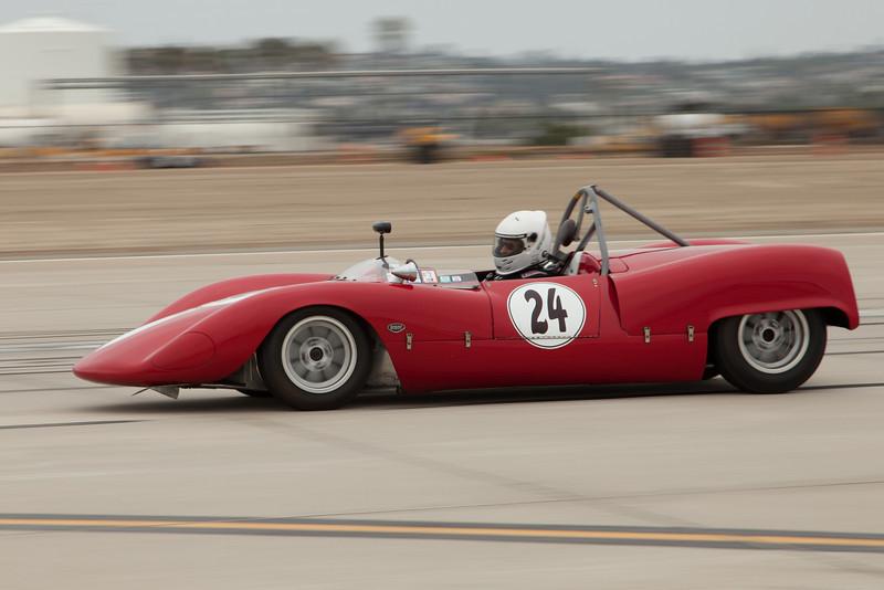 The stylish, red 1965 Bobsy SR3 of Tim Sharp.