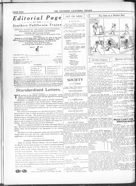The Southern California Trojan, Vol. 11, No. 72, March 18, 1920