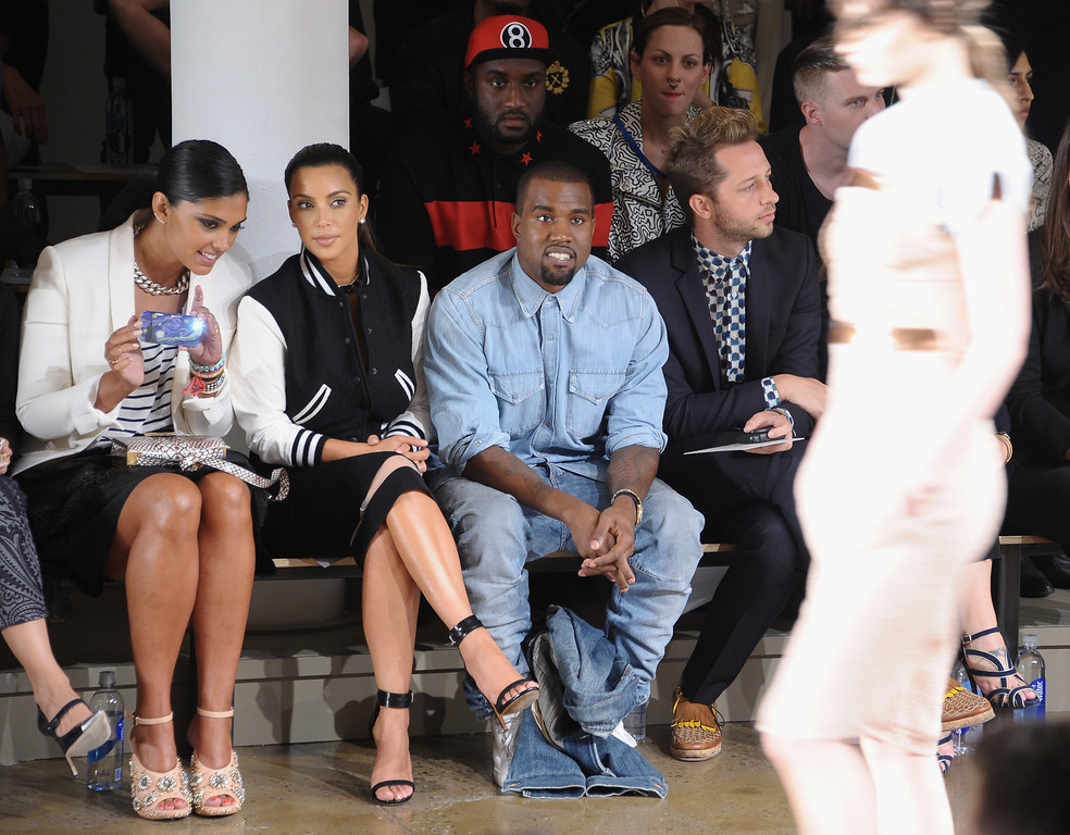 . NEW YORK, NY - SEPTEMBER 12:  (L-R) Rachel Roy,  TV Personality Kim Kardashian, Rapper Kanye West and designer Chris Benz attend Louise Goldin Spring 2013 at Milk Studios on September 12, 2012 in New York City.  (Photo by Michael Loccisano/Getty Images)