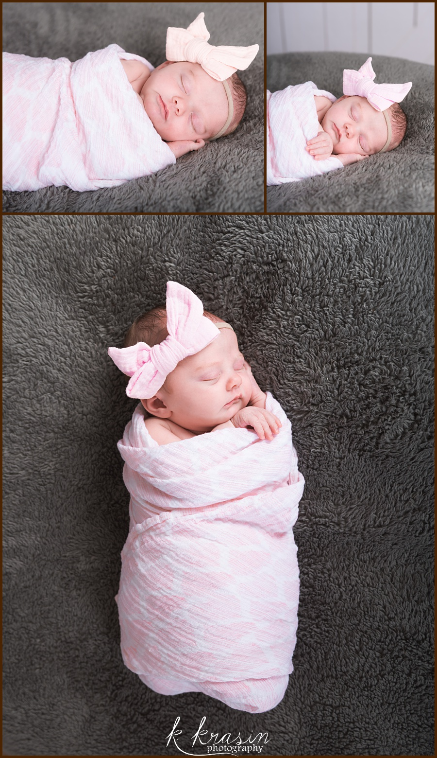 Collage of photos of newborn girl swaddled sleeping on gray blanket