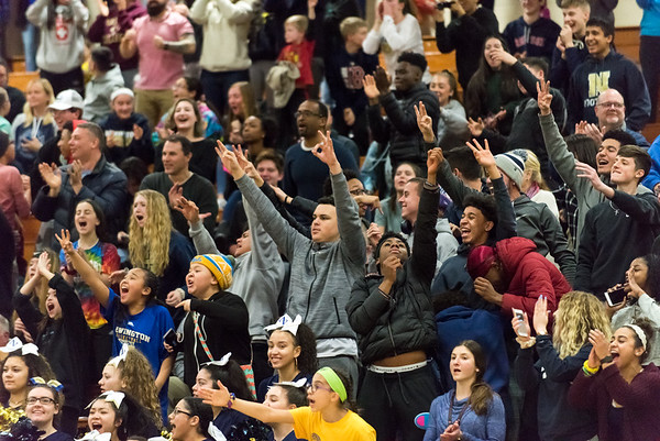 02/26/19 Wesley Bunnell | Staff Newington girls basketball vs Shelton in a CIAC playoff game played at home on Tuesday night. The Newington student section erupts after tying the game.