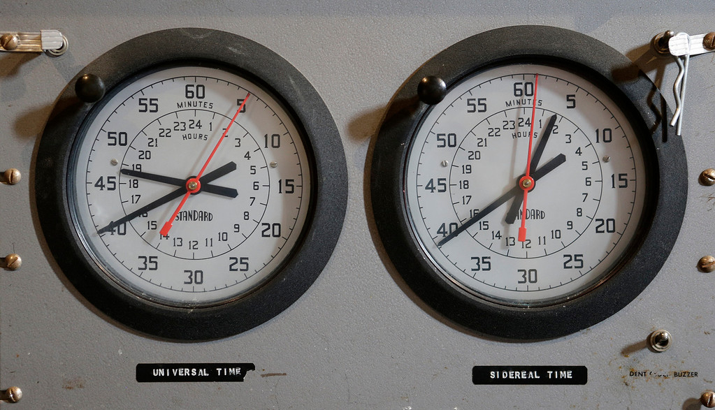 ". A pair of clocks are used in the control panel of the 36"" Refractor telescope at Lick Observatory east of San Jose, Calif. on Wednesday, May 8, 2013. The observatory will be celebrating its 125th anniversary.  (Gary Reyes/ Bay Area News Group)"