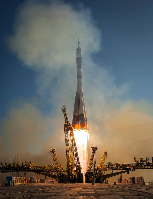 . In this handout photo provided by NASA, The Soyuz TMA-11M rocket is launched with Expedition 38 Soyuz Commander Mikhail Tyurin of Roscosmos, Flight Engineer Rick Mastracchio of NASA and Flight Engineer Koichi Wakata of the Japan Aerospace Exploration Agency onboard, on November 7, 2013, at the Baikonur Cosmodrome in Baikonur, Kazakhstan. Tyurin, Mastracchio, and, Wakata will spend the next six months aboard the International Space Station.  (Photo by Bill Ingalls/NASA via Getty Images)