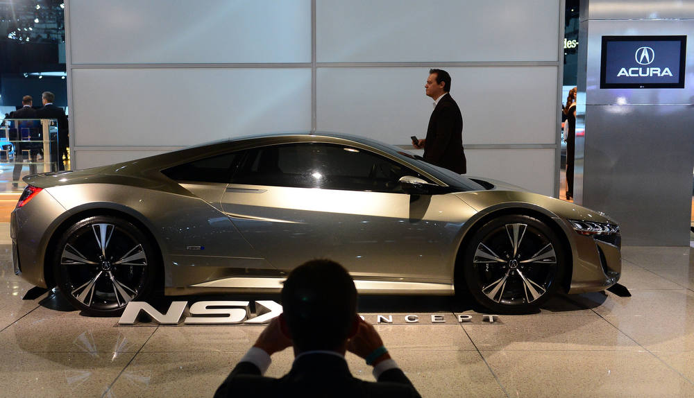 Description of . An Acura NSX concept car is displayed on media preview day at the Los Angeles Auto Show on November 28, 2012 in Los Angeles, California. The show opens to the public from November 30 to December 9. AFP PHOTO / Frederic J.  BROWN/AFP/Getty Images