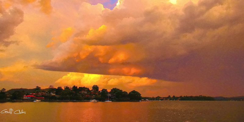 Orange Storm Sunset.  Art photo digital download and wallpaper screensaver. DIY Designer Print.  XSDP3170.