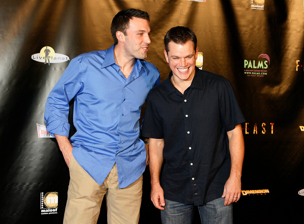 ". Ben Affleck, left, and Matt Damon pose for photos on the red carpet prior to the world premiere of ""Feast\"" at the Palms Casino & Hotel in Las Vegas on Tuesday, Sept. 12, 2006. Affleck and Damon are executive producers of the film which was made possible by the duo\'s television show \""Project Greenlight\"". (AP Photo/Isaac Brekken)"