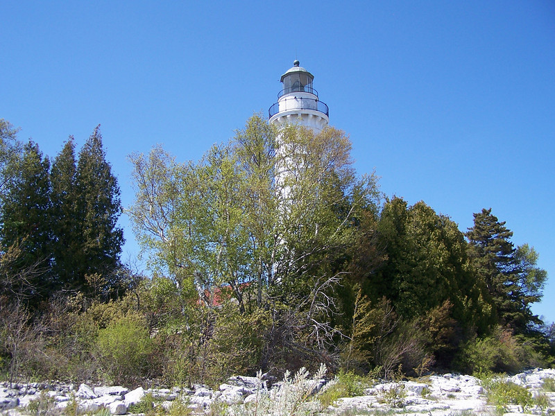 View of the lighthouse from the shore at Cana Island, Baileys Harbor, Door County, WI