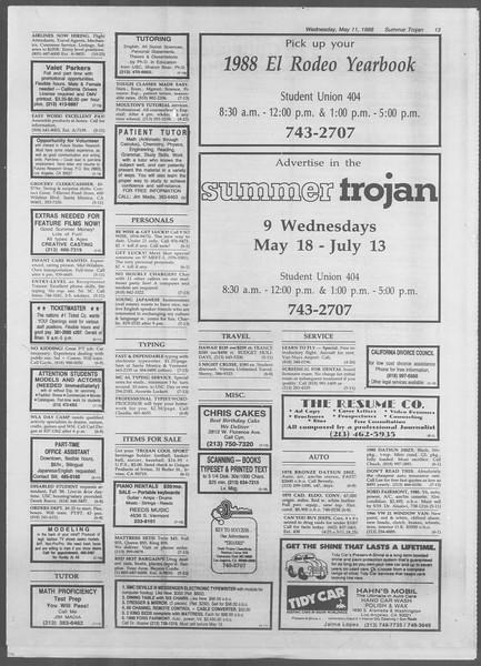 Summer Trojan, Vol. 107, No. 1, May 11, 1988