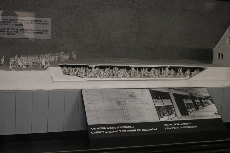 A scale model of Birkinau's Crematorim II. The gas chambers were underground. Shown here is the stairs down to the staging area where victims shed their clothes. Photo at lower right shows the furnace doors, 3 oven racks/doors per furnace box.