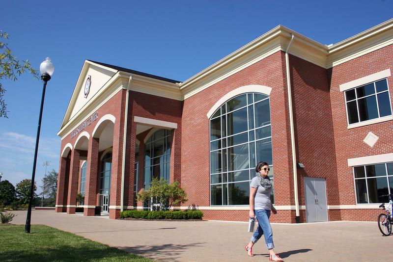 A Gardner-Webb University student walks in front of the Tucker Student Center on a September morning.
