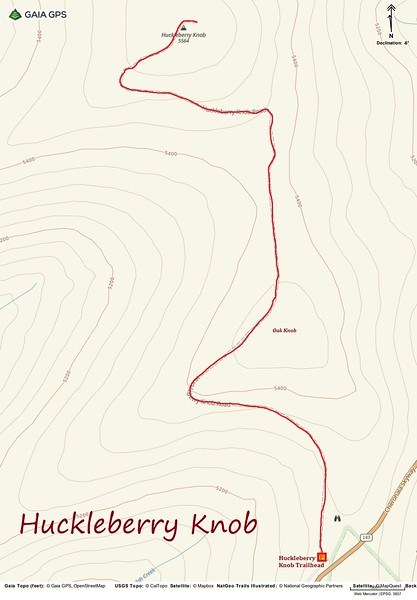 Huckleberry Knob Hike Route Map