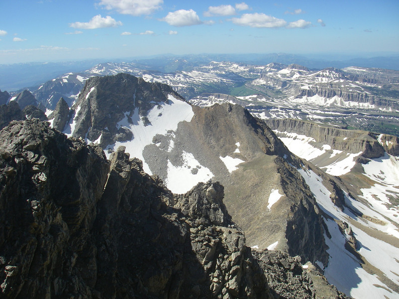 """South Teton (12,514ft = 3.814m) is """"much"""" lower."""