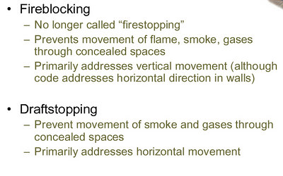 FIREBLOCKING AND DRAFTSTOPPING