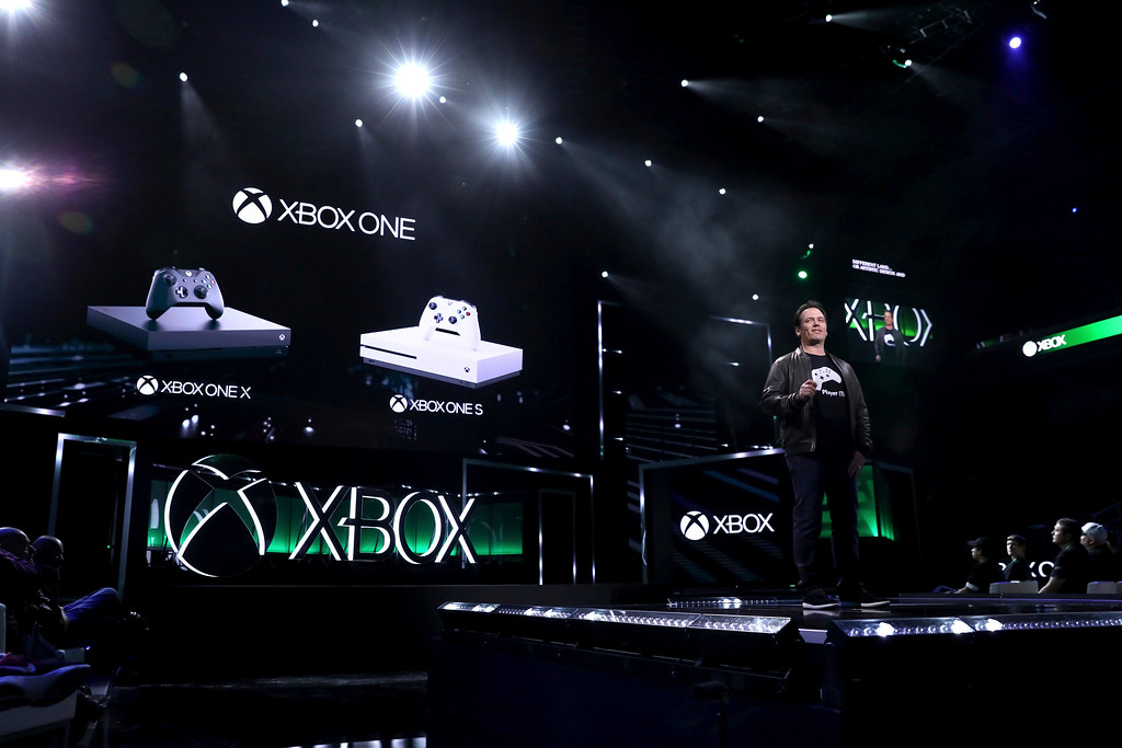 . IMAGE DISTRIBUTED FOR MICROSOFT - Phil Spencer, Head of Xbox, discusses the Xbox One family of devices, including Xbox One X, at the Xbox E3 2017 Briefing on Sunday, June 11, 2017 in Los Angeles.(Photo by Matt Sayles/Invision for Microsoft/AP Images)