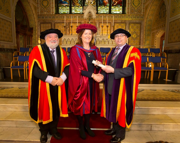 06/01/2015. FREE TO USE IMAGE. WIT (Waterford Institute of Technology) Conferring. Pictured Annette Cullen-Murphy, Kilmeaden, Waterford who was conferred a Doctor of Philosophy also pictured are Jack Walsh, Deputy Chairman of W.I.T and Dr. Ruaidhrí Neavyn, President WIT.  Picture: Patrick Browne