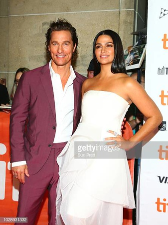 "TORONTO, ON - SEPTEMBER 07:  Matthew McConaughey (L) and Camila Alves attend the ""White Boy Rick"" premiere during 2018 Toronto International Film Festival at Ryerson Theatre on September 7, 2018 in Toronto, Canada.  (Photo by Suzi Pratt/Getty Images)"