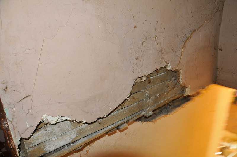 10 09-08  Pieces of plaster had cracked and chipped which was patched. mlj