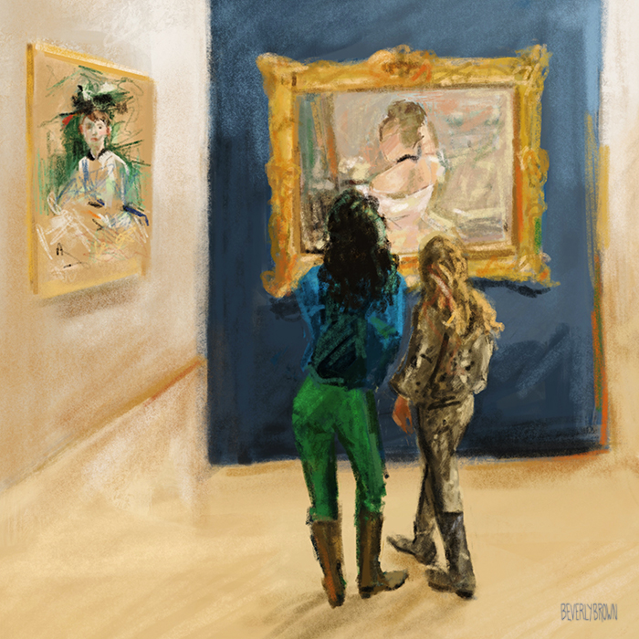 Sketch of mother & daughter at the Berthe Morisot exhibit at the Barnes Foundation - Beverly Brown Artist - beverlybrown.com