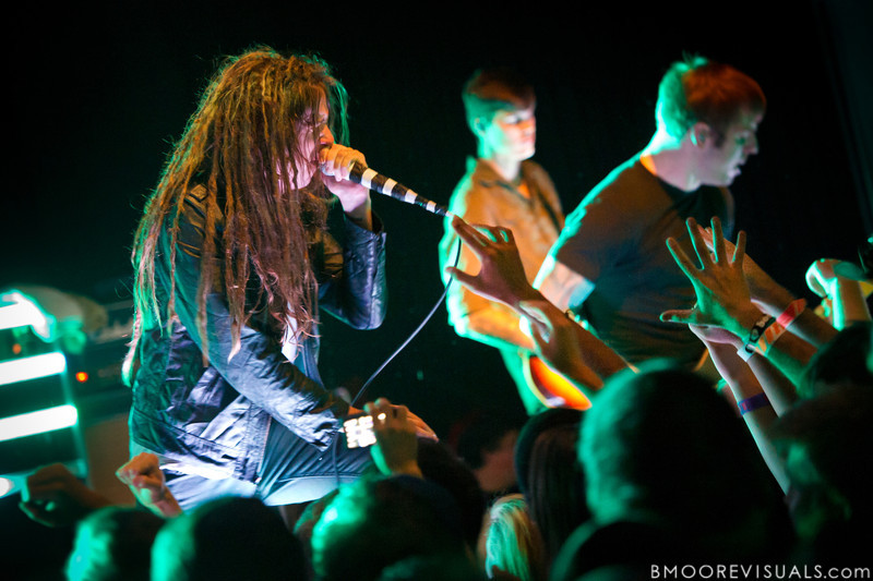 Spencer Chamberlain, James Smith, and Grant Brandell of Underoath perform at State Theatre in St. Petersburg, Florida on October 20, 2011